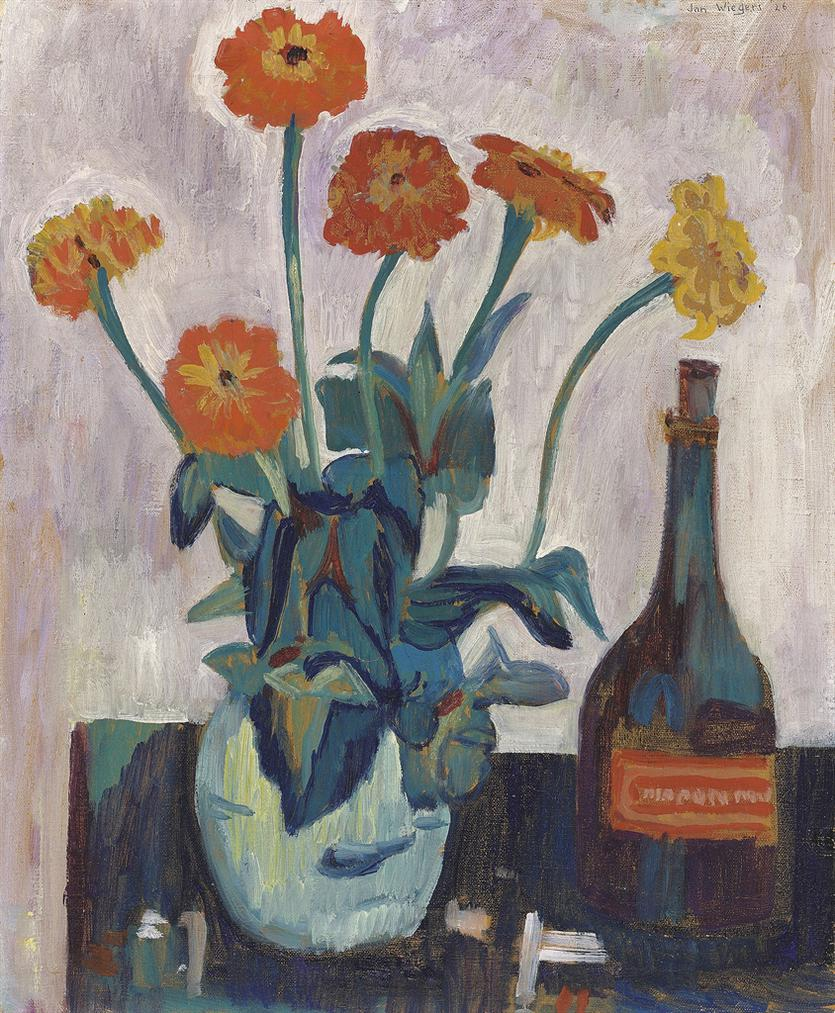 Jan Wiegers - Still Life With Vase Of Zinnias And A Bottle-1926
