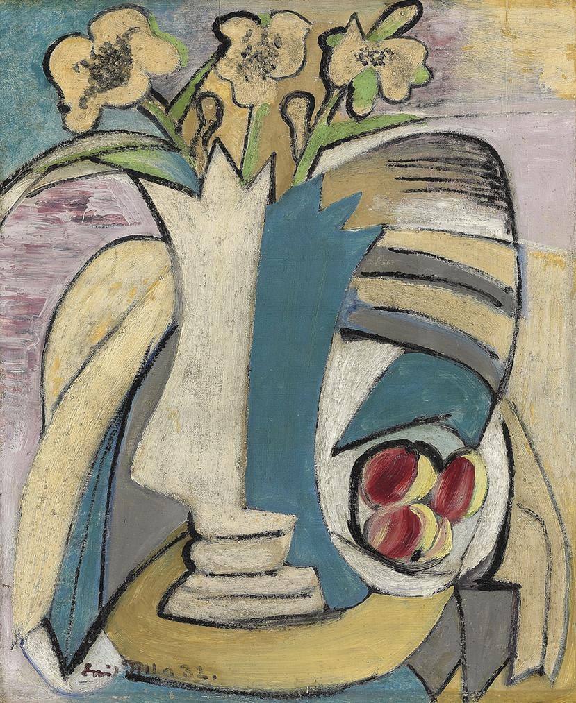 Emil Filla - Vaza S Kytici A Broskve (Vase Of Flowers And Peaches)-1932