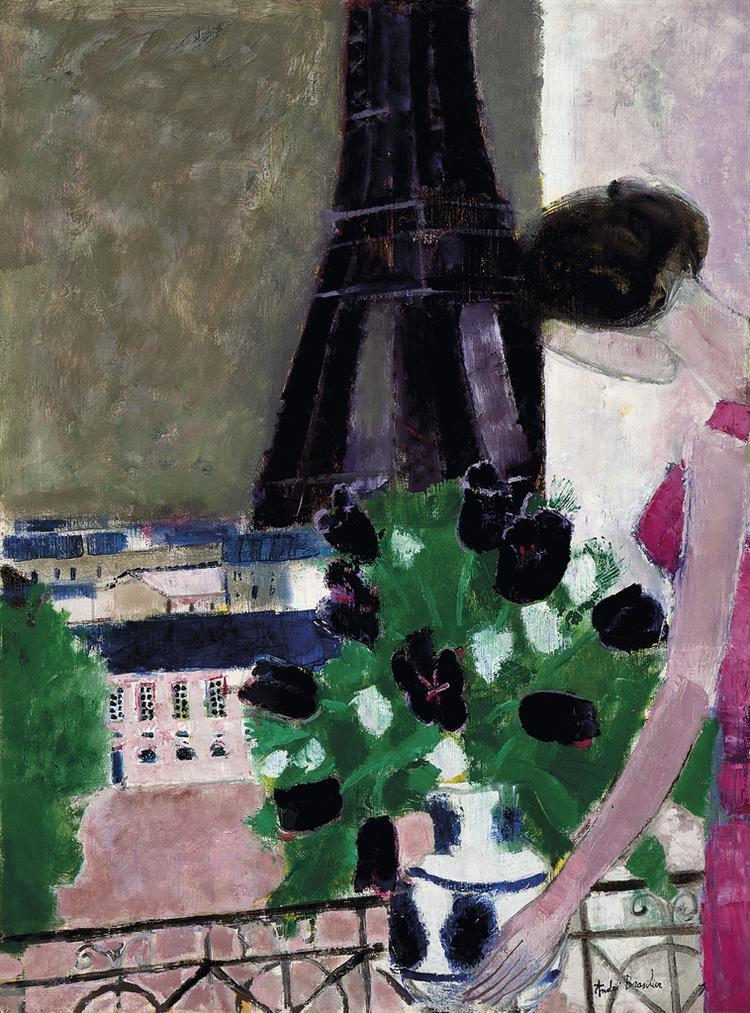 Andre Brasilier-La Tour Eiffel Et Les Tulipes Noires-1961