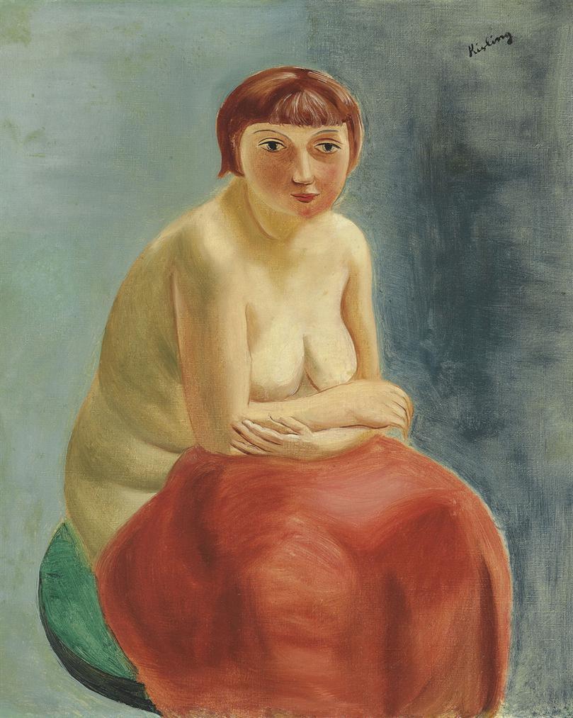 Moise Kisling-Nu Assis A La Draperie Rouge-1920