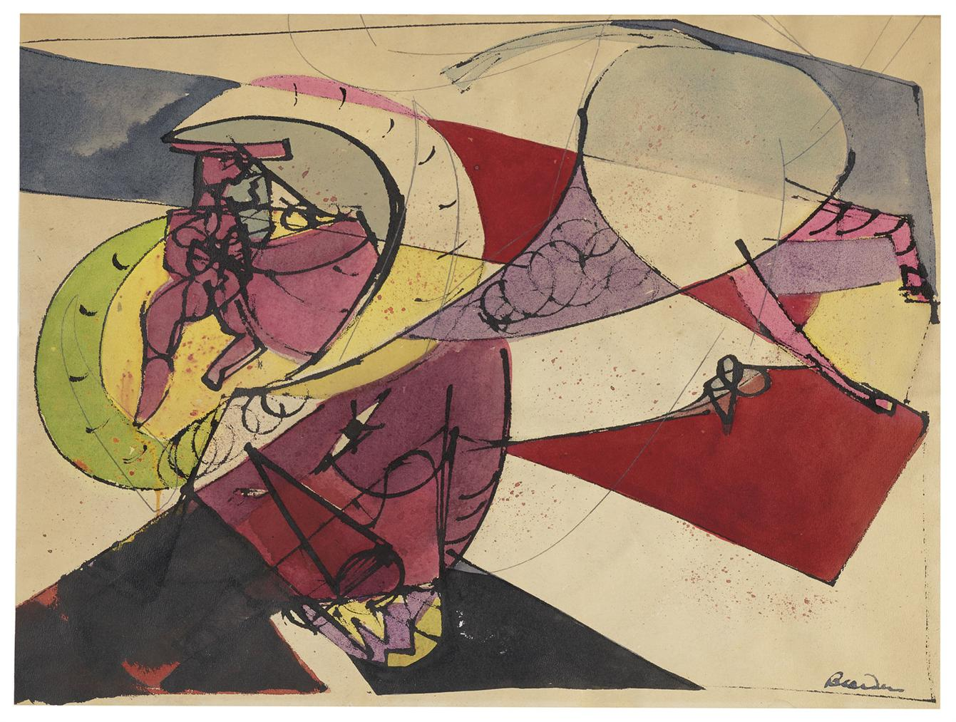 Romare Bearden-Untitled (From Lament For Bullfighters Series)-1946
