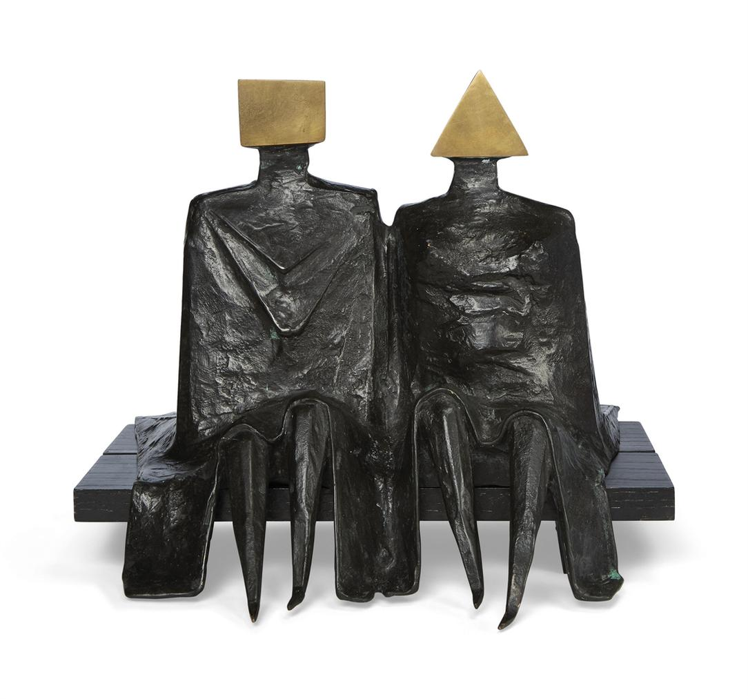 Lynn Chadwick-Sitting Couple In Robes I-1980