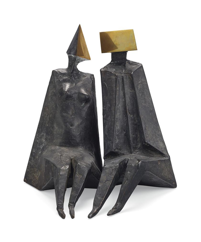 Lynn Chadwick-Maquette XIII Pair Of Sitting Figures-1975