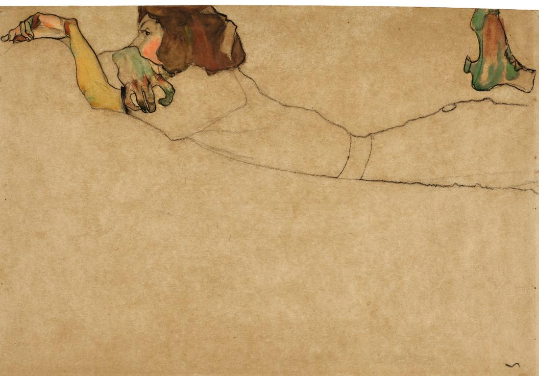 Egon Schiele-Auf Dem Bauch Liegendes Madchen (Girl Reclining On Stomach)-1910