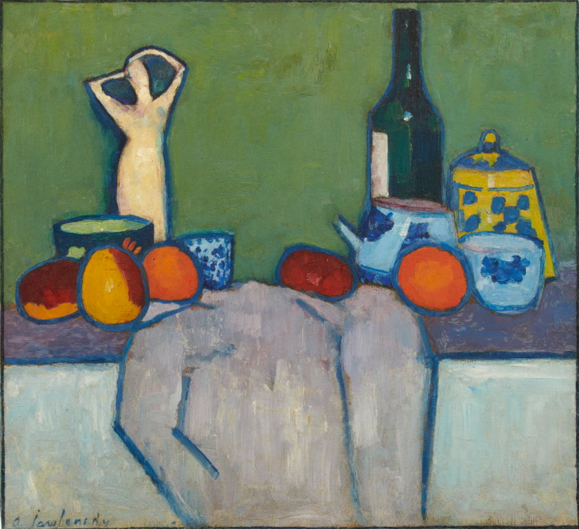 Alexej von Jawlensky-Stilleben Mit Fruchten, Figur Und Flasche (Still-Life With Fruit, Figure And Bottle)-1907