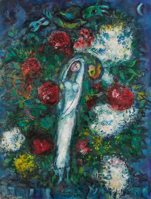 Marc Chagall-La Mariee Or Les Amoureux Aux Fleurs-1959