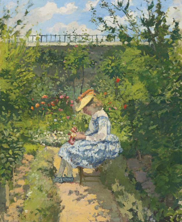 Camille Pissarro-Jeanne Pissarro Dite Minette, Assise Au Jardin, Pontoise-1872