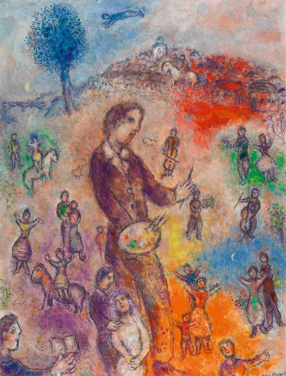 Marc Chagall-Le Peintre A La Fete-1982