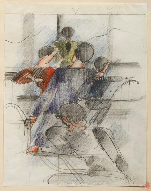 Oskar Schlemmer-Am Gelander, Funf-Figuren-Gruppe (By The Handrail, Group Of Five Figures)-1931
