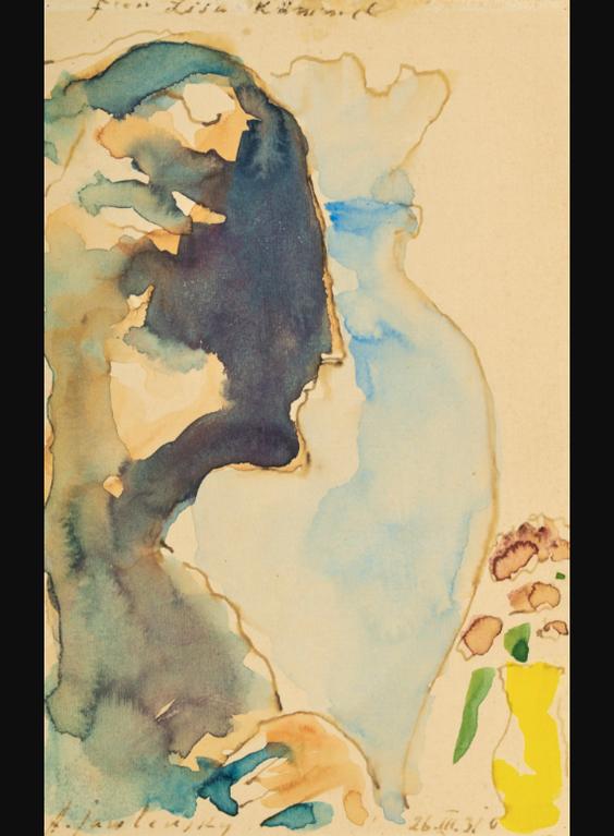 Alexej von Jawlensky-Kopf Im Profil Mit Blauer Und Gelber Vase (Head In Profile With Blue And Yellow Vase)-1931