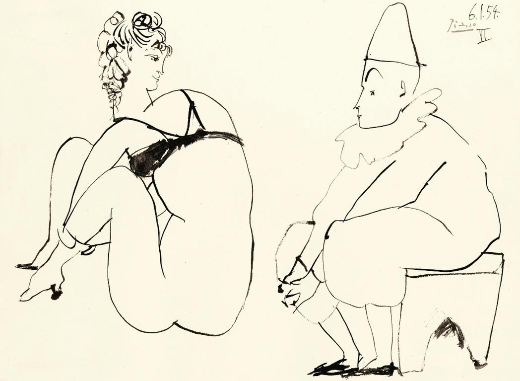 Pablo Picasso-Femme Et Clown-1954