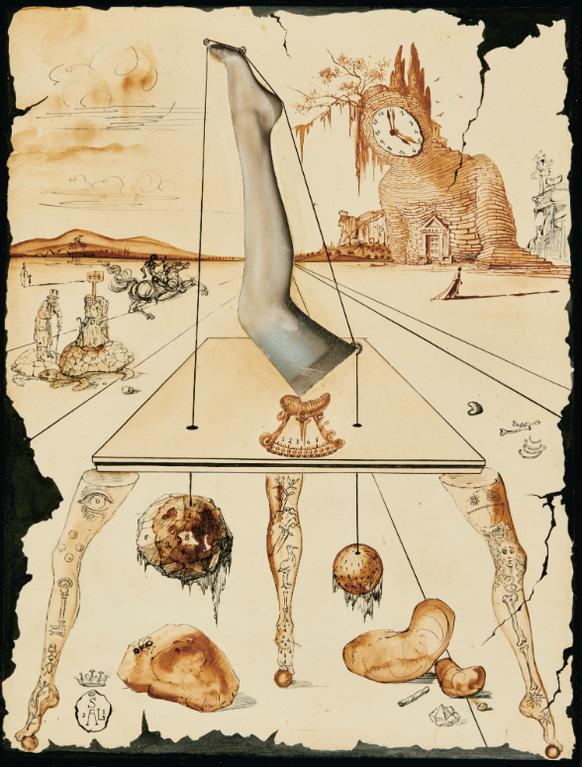 Salvador Dali-Composition A La Jambe-1944
