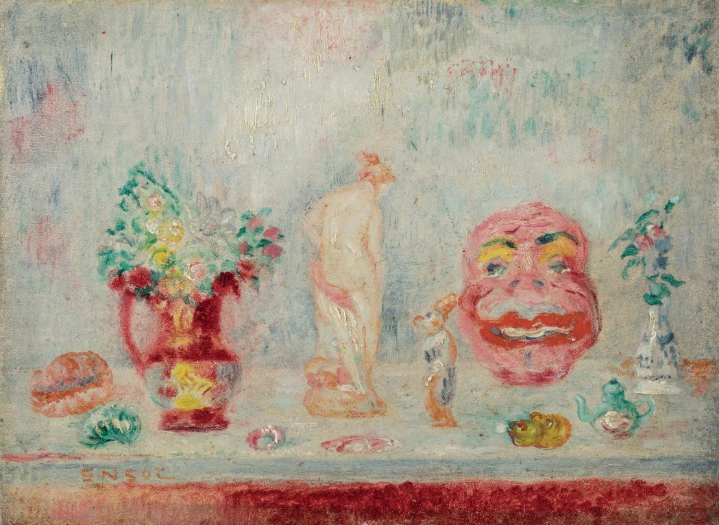 James Ensor-Vase, Statuette, Masque Et Cruche-1935