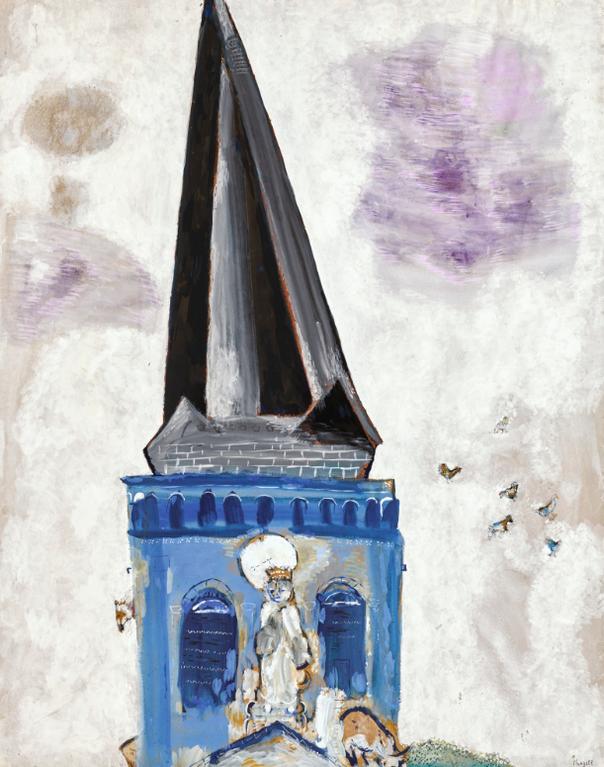 Marc Chagall-Le Clocher De Chambon-Sur-Lac-1926