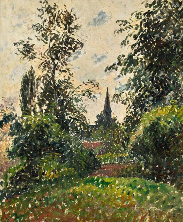 Camille Pissarro-Le Clocher De Bazincourt (Etude)-1895
