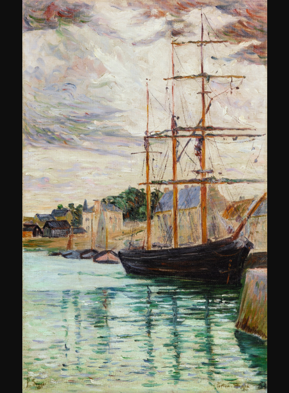 Paul Signac-Port-En-Bessin, Les Trois-Mats A Quai-1883