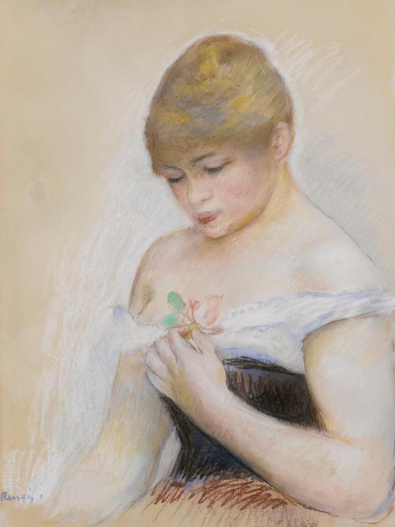 Pierre-Auguste Renoir-Jeune Regardant Une Rose-1880