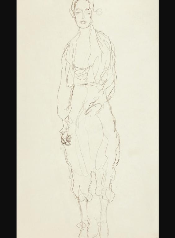 Gustav Klimt-Stehende Frau In Hosen Von Vorne (Portrait Of A Girl Standing In Trousers)-1918