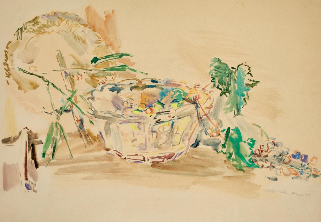 Oskar Kokoschka-Still Life With Bowl, Fan And Grapes (Stillleben Mit Schale, Facher Und Trauben)-1948