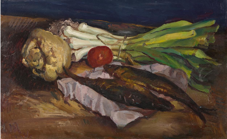 Ludwig Meidner - Stilleben Mit Fischen (Still Life With Fish)-1936