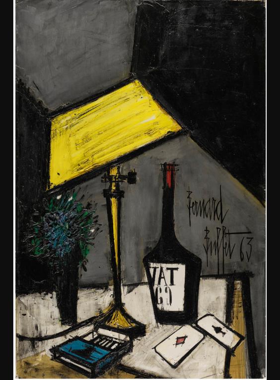 Bernard Buffet-Nature Morte A La Lampe Et Aux Cartes-1963