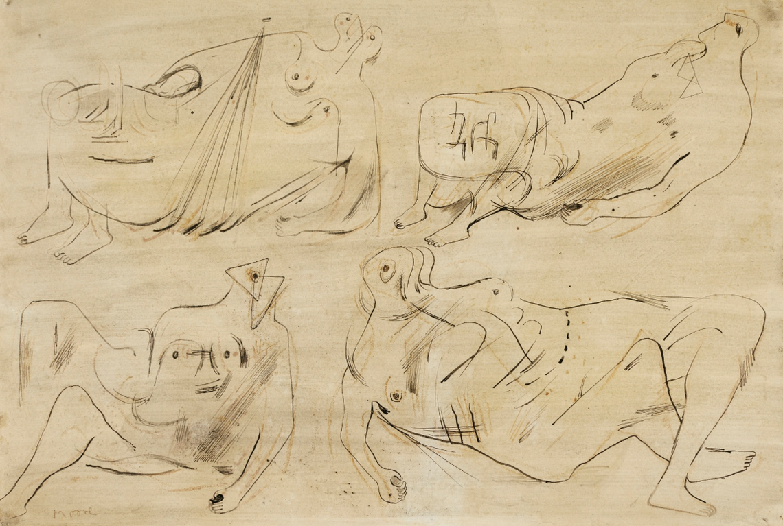 Henry Moore-Drawing For Sculpture: Reclining Figures-1933