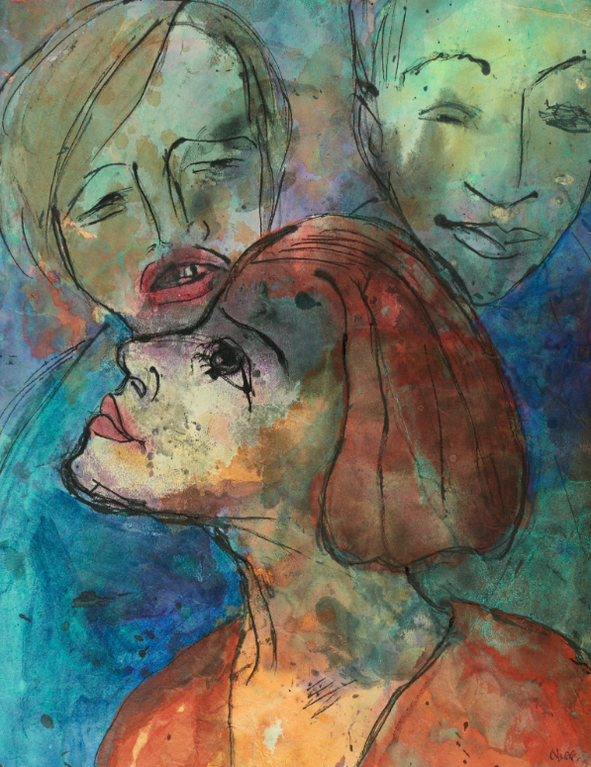 Emil Nolde-Grunes Paar Und Rothaariges Madchen (Green Couple And Red Haired Girl)-1935