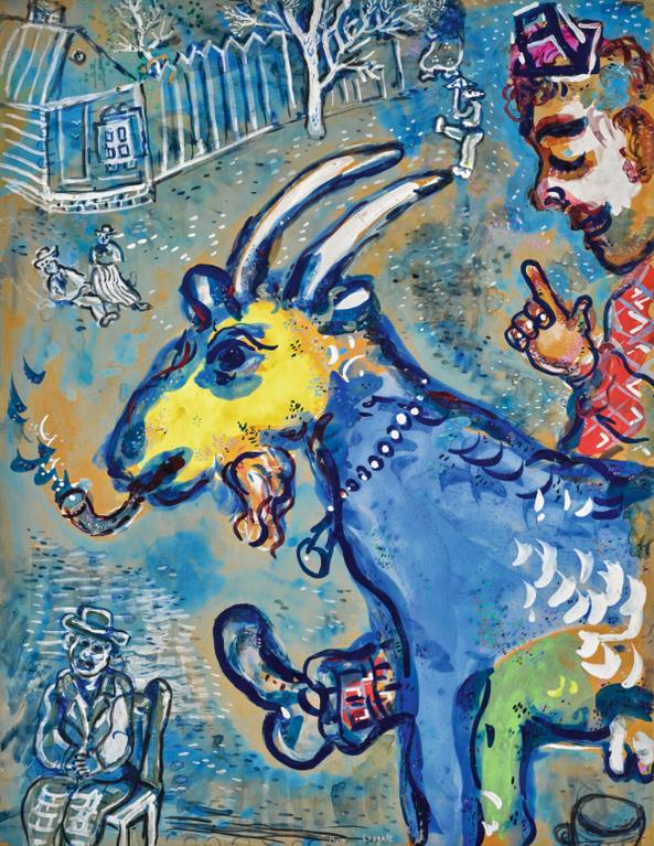 Marc Chagall-La Chevre Qui Fume (Cirque Vollard)-1927