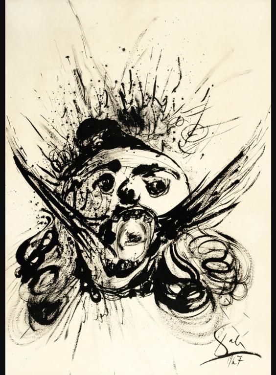 Salvador Dali-Tete Urlante-1967