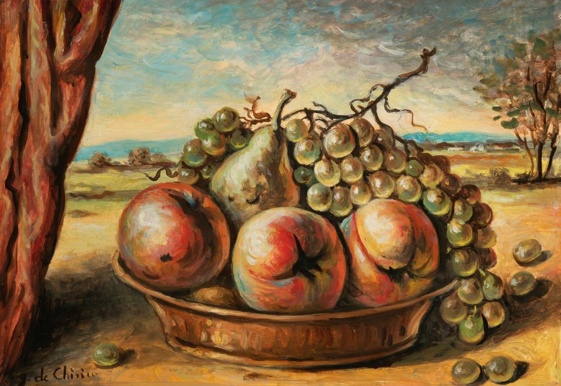 Giorgio de Chirico-Vita Silente Con Pesche E Uva (Still Life With Peaches And Grapes)-1975