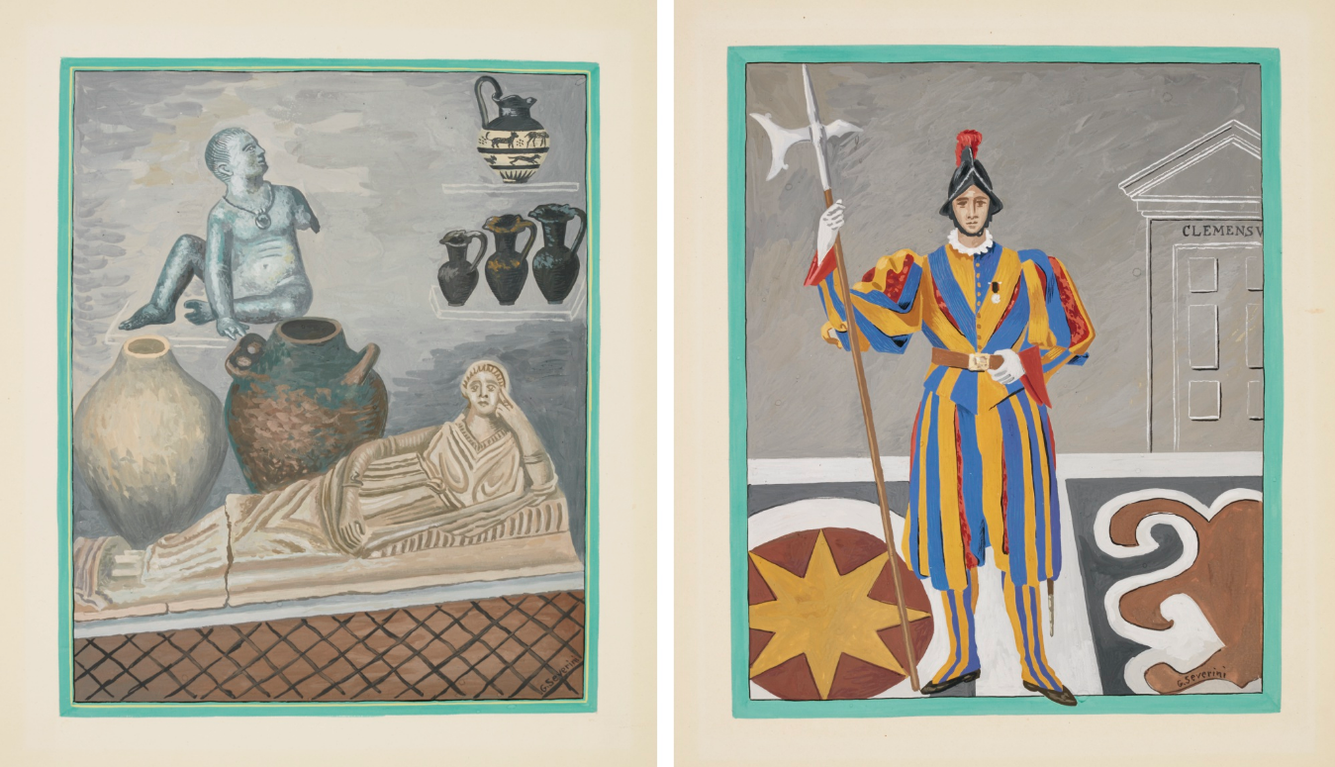 Gino Severini-Two Illustrations For La Cite De Vatican: Garde Suisse & Le Musee Etrusque-Gregorien-1936