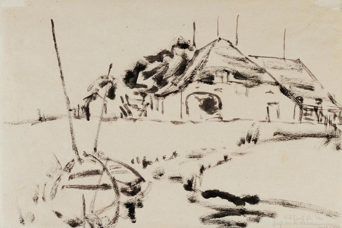Emil Nolde-Bauernhof Und Boote Bei Ruttebull (Farm And Boats By Ruttebull)-1909