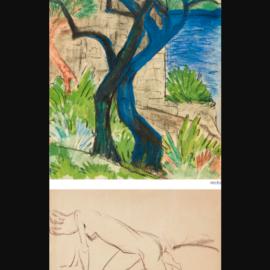 Otto Mueller-Flussufer Mit Blauem Baum Or Landschaft Am Ufer Eines Flusses Mit Blauem Baum (Riverbank With Blue Tree Or Landscape By A Riverbank With Blue Tree) - Recto Weiblicher Akt (Female Nude) - Verso-1924