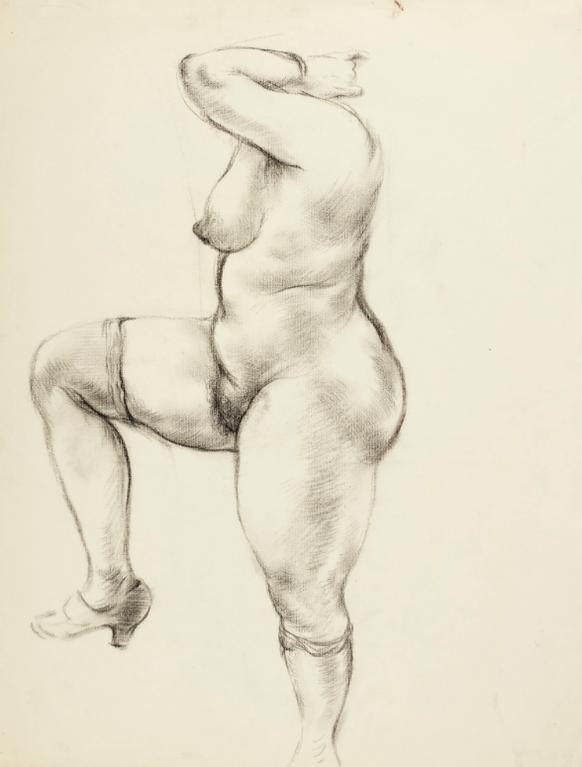 George Grosz-Nackte Mit Seidenstrumpfen (Female Nude, Dressed In Stockings)-1936