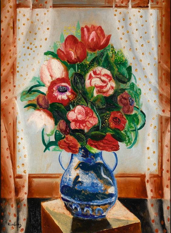 Moise Kisling-Bouquet De Fleurs Dans Un Vase-1925