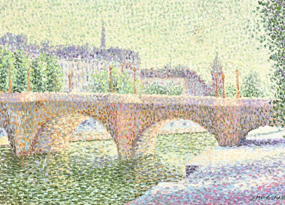 Serge Mendjisky-Quai A Paris Sous La Neige-1986