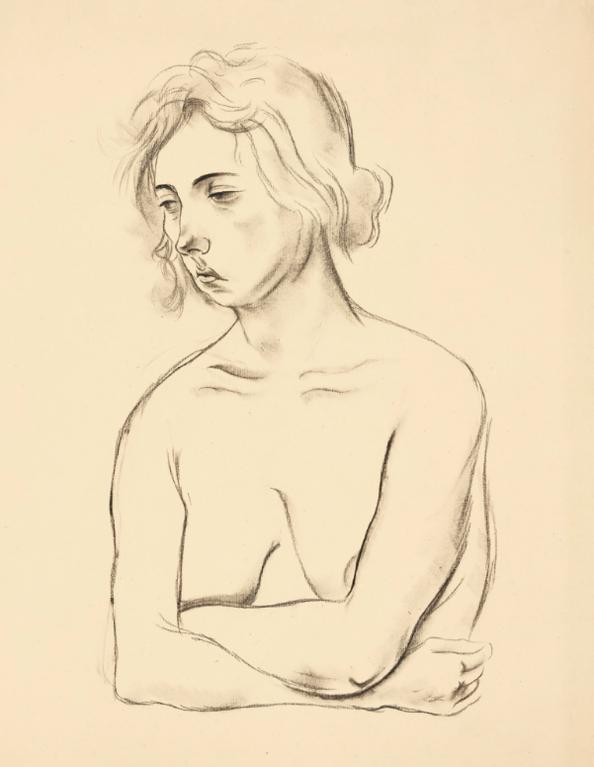 George Grosz-Weiblicher Halbakt (Female Semi Nude)-1924
