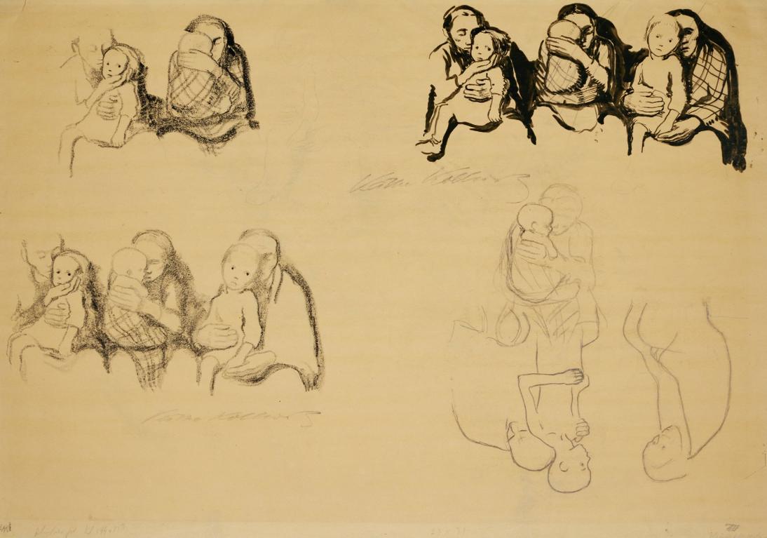 Kathe Kollwitz-Sitzende Mutter Mit Kindern (Sitting Mother With Children)-1920
