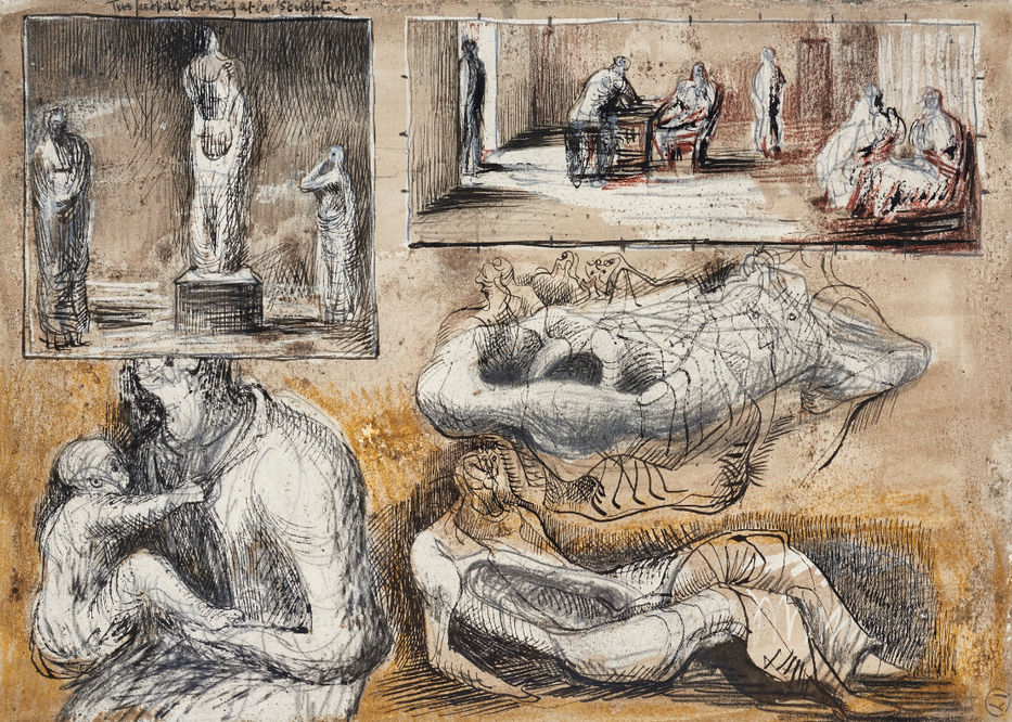 Henry Moore-Two People Looking At A Sculpture - Recto Figure Studies - Verso-1942