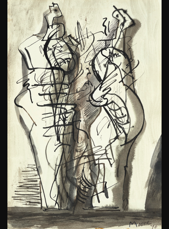 Henry Moore-Two Standing Figures Xv-1971
