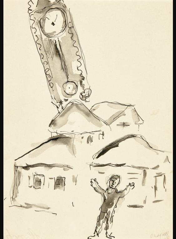 Marc Chagall-La Pendule Et Le Village (Illustration Pour Le Livre The Fiddle Rose Dabraham Sutzkever)-1972