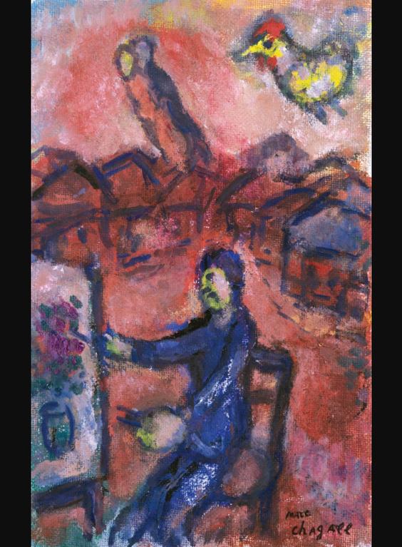 Marc Chagall-Le Peintre Au Village, Le Soir-1980