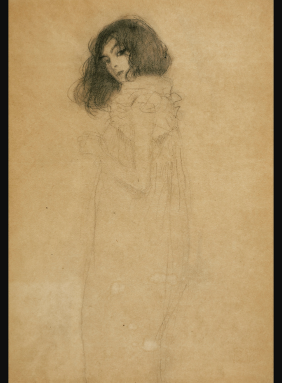 Gustav Klimt-Madchen Nach Links, Das Gesicht Im Dreiviertelprofil Zum Betrachter (Girl Turned To The Left, Her Face In A Three-Quarter Profile To The Viewer)-1898