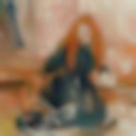 Berthe Morisot-Fillette Jouant Avec Un Chien-1892