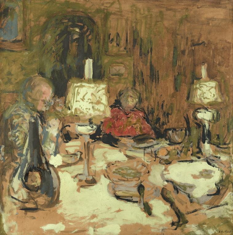 Edouard Vuillard-Le Diner Aux Deux Lampes, Rue De Calais-1909