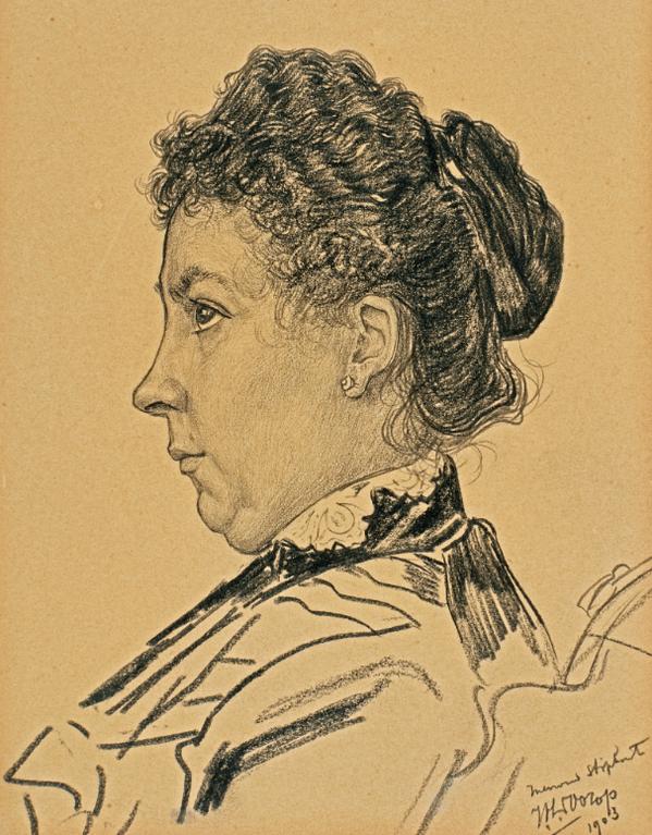 Jan Toorop-Portret Van Mevruow Stiphout Met Profiel Naar Links (Portrait Of Mrs Stiphout In Profile Looking Left)-1903
