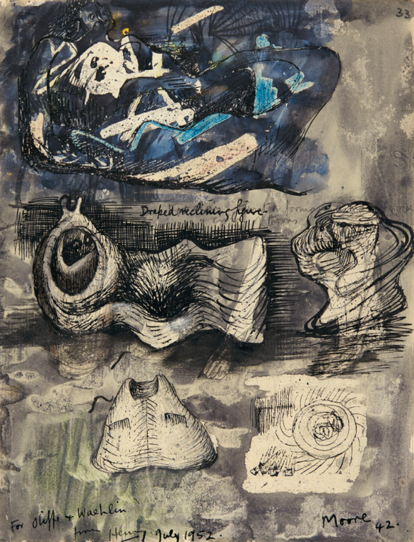 Henry Moore-Ideas For Sculpture - Recto Ideas For Sculpture: Seated Mother And Child - Verso-1942