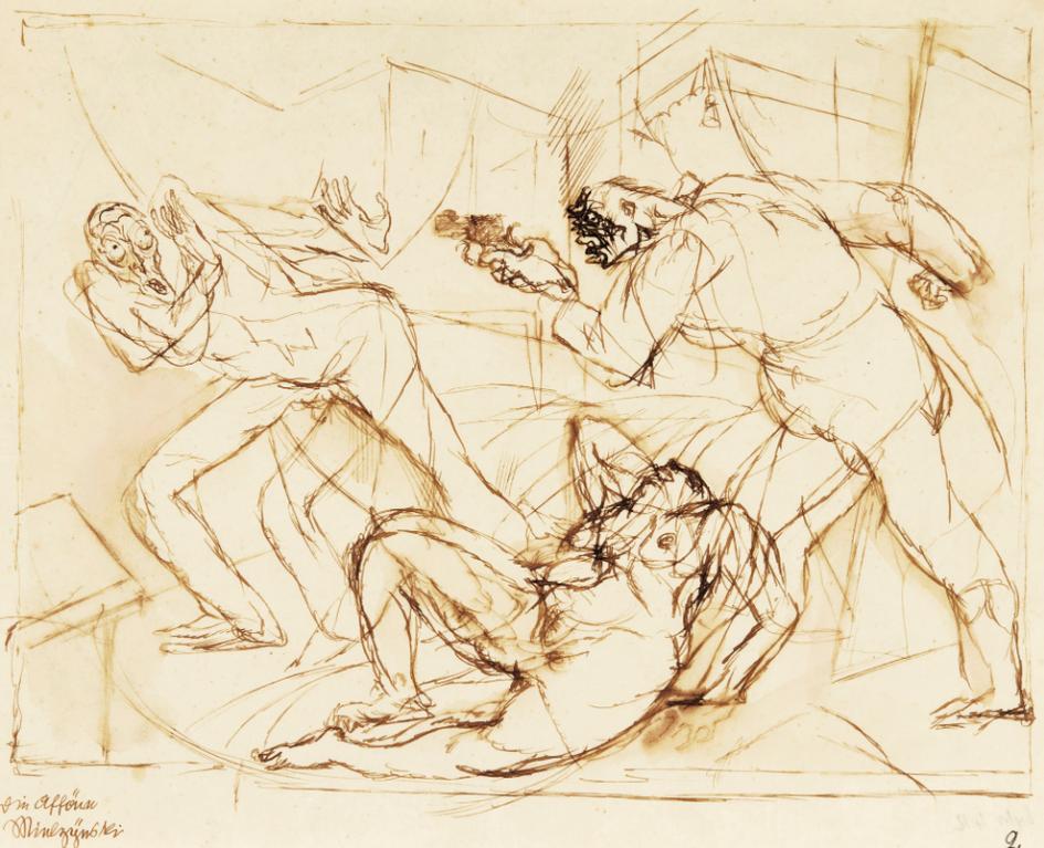 George Grosz-Die Affare Mielzynsky (The Mielzynsky Affair)-1913