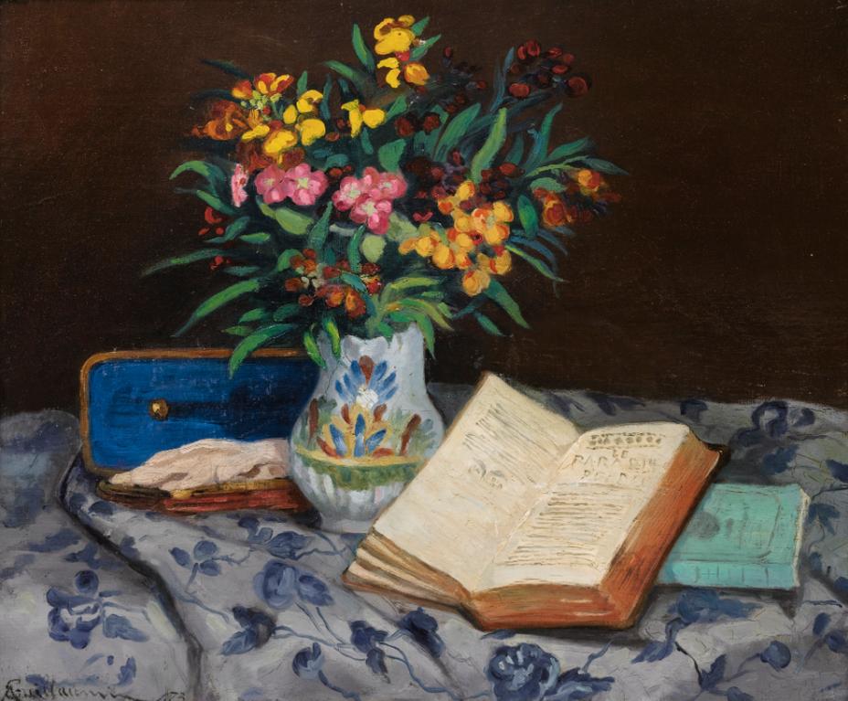 Jean-Baptiste Armand Guillaumin-Nature Morte A La Boite A Gants Bleue-1873