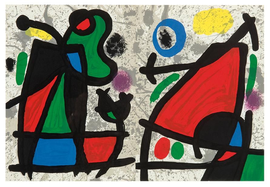 Joan Miro-Two Pages From Derriere Le Miroir-1970